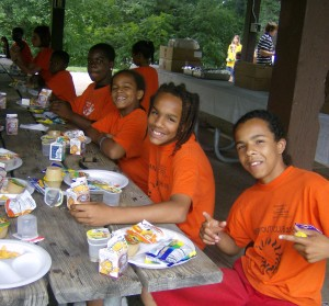 Children enjoying lunch at one of Church of Peace's 29 Summer Meals sites.